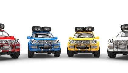 Modern Offroaders - focus on blue and yellow