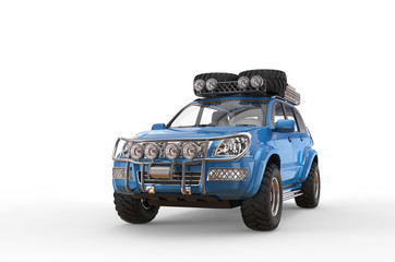 Blue 4x4 SUV front view