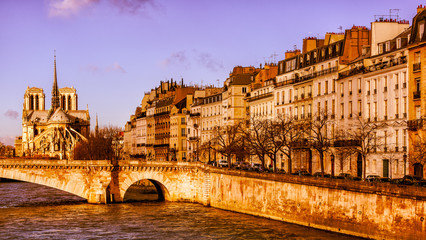 Paris at sunrise in gold light. River, bridge, Notre Dame