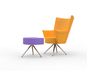 Modern yellow armchair with leg stand
