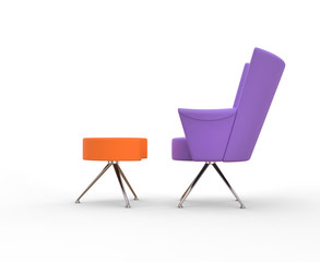 Modern purple armchair with leg stand