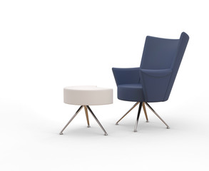 Modern cobalt blue armchair with leg stand