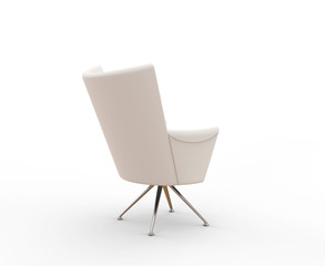 Modern white armchair - back view