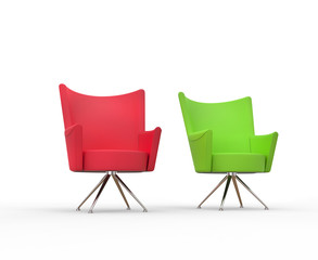 Modern armchairs - red and green