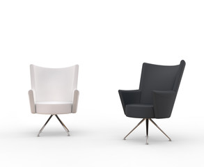 Modern armchairs - white and black