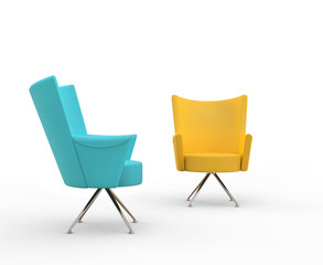 Turqouise and yellow modern armchairs