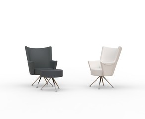 Modern armchairs - black and white with leg stand