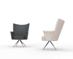 Modern armchairs - grey and white