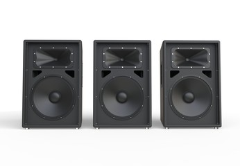Three big concert speakers