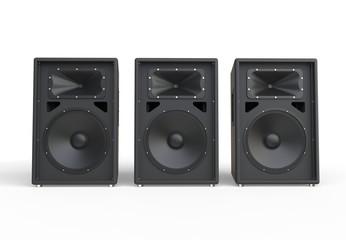 Three big concert speakers