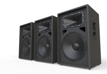 Three big concert speakers in perspective