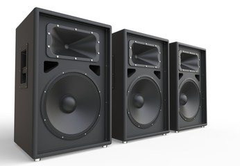Three big loudspeakers