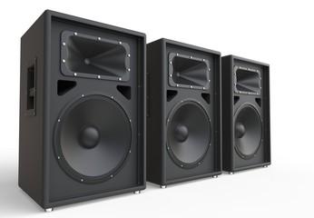 Three big loudspeakers