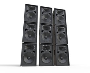 Towers of concert speakers