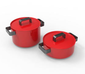 Red cookingware with black handles