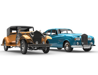 Gold and blue vintage cars