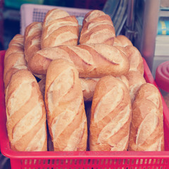 baguettes on the counter, close-up