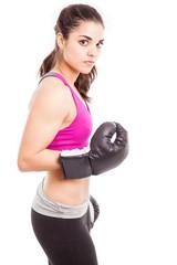 Intimidating female boxer