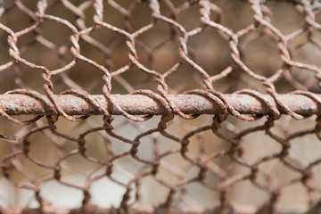 texture of rusty iron fence wire