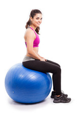 Working out on a stability ball