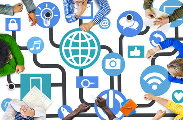 Global Communications Social Networking Meeting Online Concept