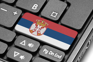 Go to Serbia! Computer keyboard with flag key.