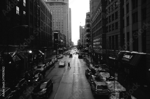 Black and White Chicago Streets - 79059632