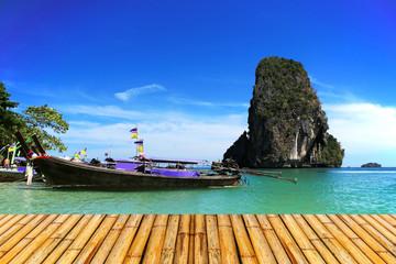 Sea of krabi thailand with  bamboor floor