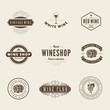 Wine Retro Vintage Labels Hipster Logo design typography - 79060096