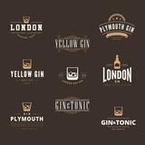 Gin Tonic Retro Vintage Labels Hipster Logo design vector