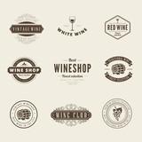 Wine Retro Vintage Labels Hipster Logo design typography - 79060096