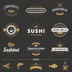 Sushi Rolls Sashimi Hipster Logo design vector typography