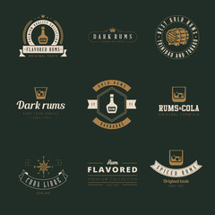 Rum Hipster Logo design vector typography lettering templates