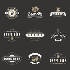 Beer Hipster Logo design vector typography. Brewery Logotypes
