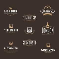 Gin Tonic Retro Vintage Labels Hipster Logo design vector