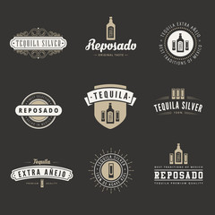 Tequila Hipster Logo design vector typography lettering template