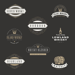 Whisky Hipster Logo design vector typography lettering templates