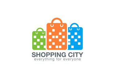 Shopping Mall Logo design vector. Shopping Bags Buildings