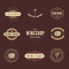 Wine Hipster Logo design vector typography lettering templates