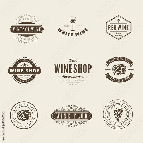 Wine Retro Vintage Labels Hipster Logo design typography