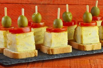 Spanish omelette brochettes