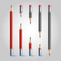 Short and long pencil set, red gray