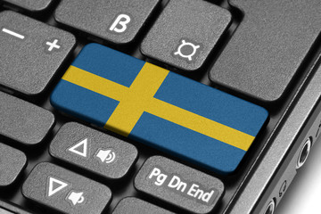 Go to Sweden! Computer keyboard with flag key.