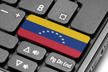 Go to Venezuela! Computer keyboard with flag key.
