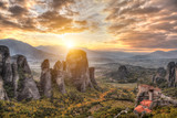 Panorama of the Meteora valley in Greece - 79061442
