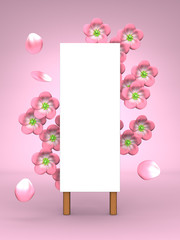 Pink Cherry Blossoms And Blank Billboard On Pink Background