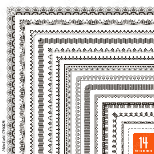 large collection of seamlessly tiling borders/frames (14 items) - 79062298