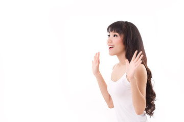 exited, happy, smiling woman looking up, white background