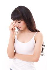 sick woman with headache, migraine, stress, negative feeling, wh