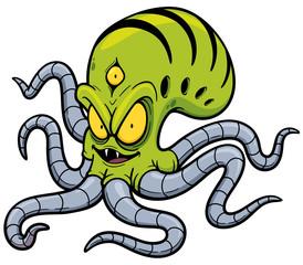 Vector illustration of Alien cartoon